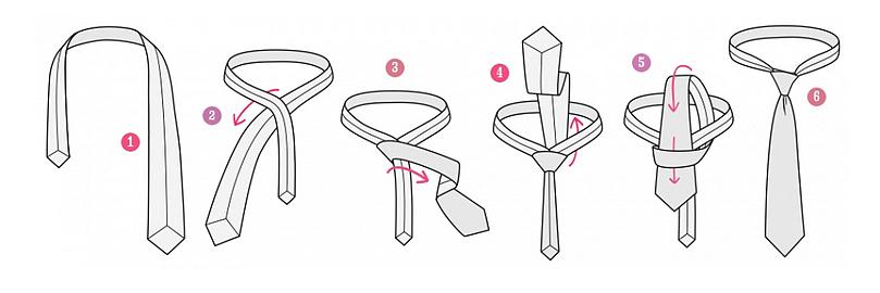 классический узел галстука схема