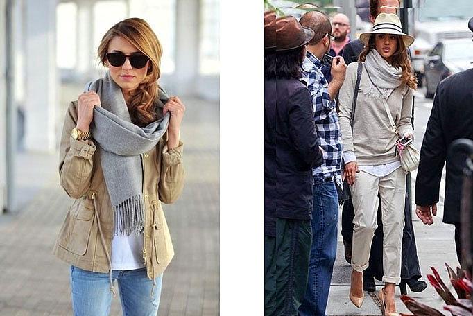 серый шарф женский с чем носить