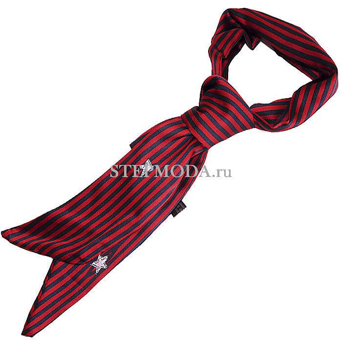 Длинный узкий женский шарф как галстук фото