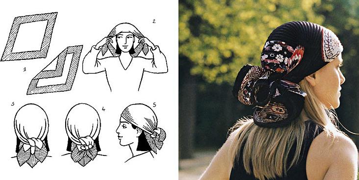 как завязать платок на голове  бантом