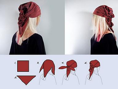 как завязать бандану на голове