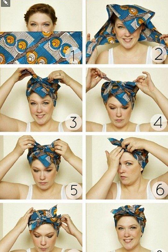 как завязать платок на голове на пляж фото