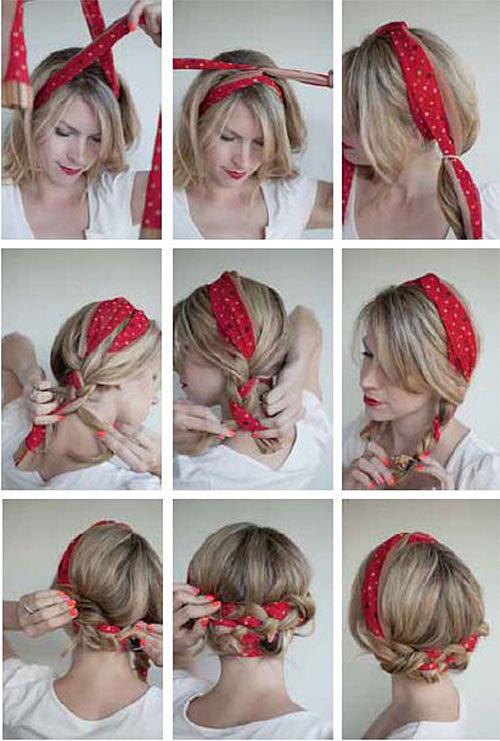 как вплетать платок в волосы фото