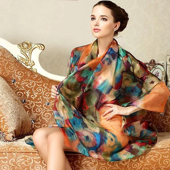 женский шелковый палантин украшение фото