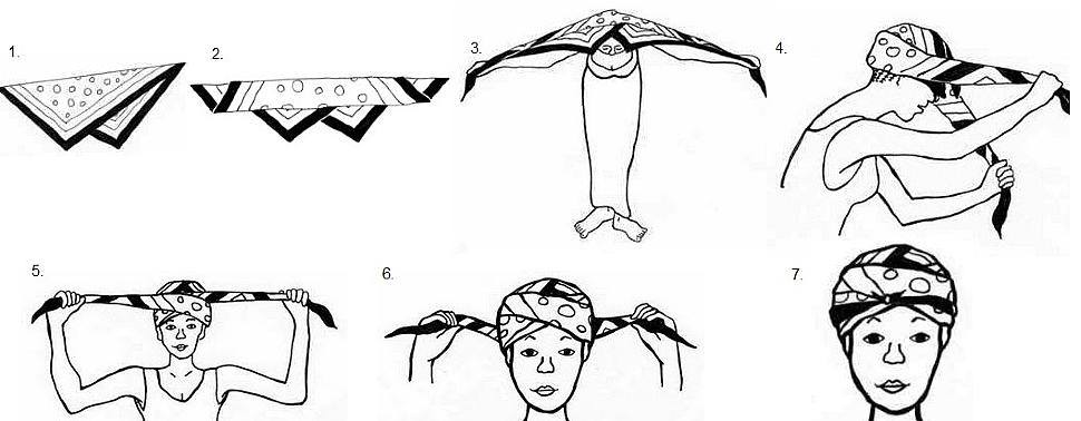 как сделать тюрбан на голове из платка фото