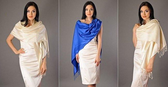 как завязать шелковый шарф на платье фото
