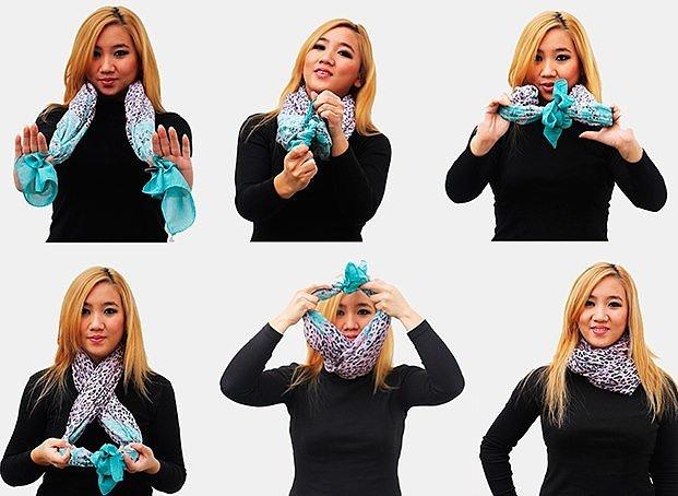 Один из вариантов завязывания шарфов на шее фото