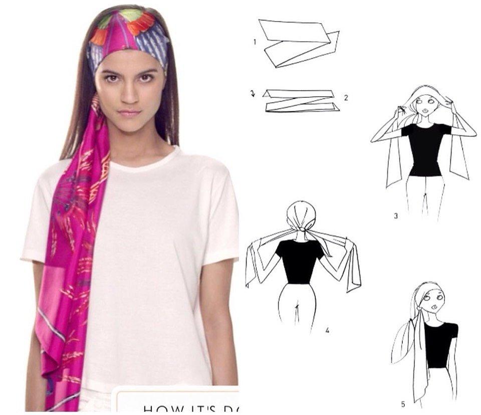 как завязывать шарф на голову
