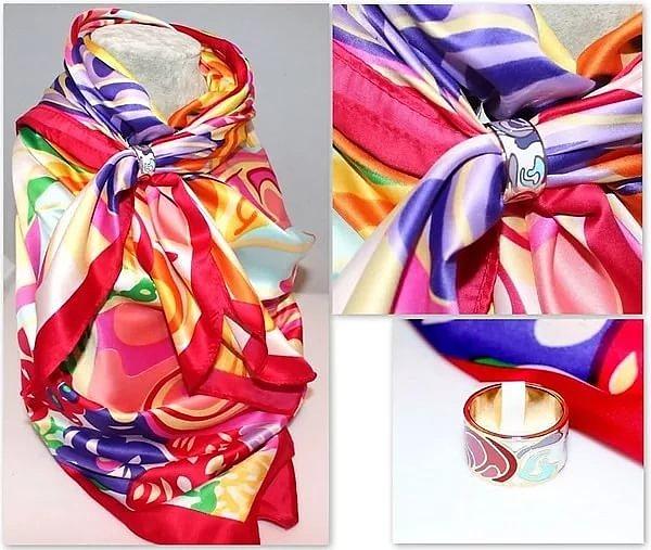 Фиксация шарфа с помощью кольца фото