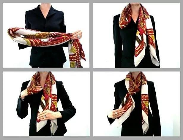 как красиво завязать шарф на шее фото
