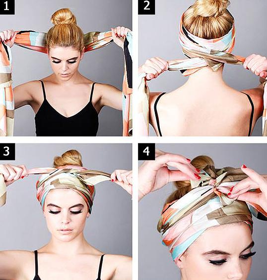 способ завязать шарф палантин на голове