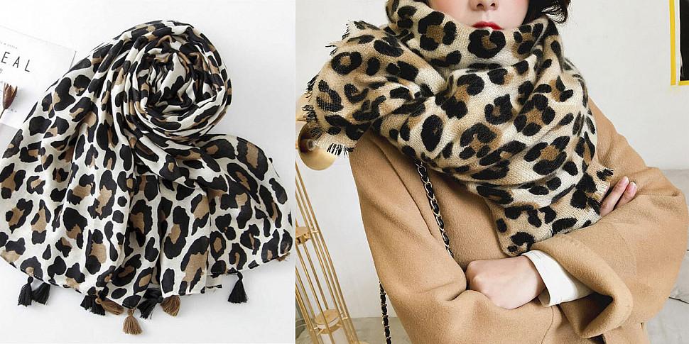 платок  с модным животным принтом фото