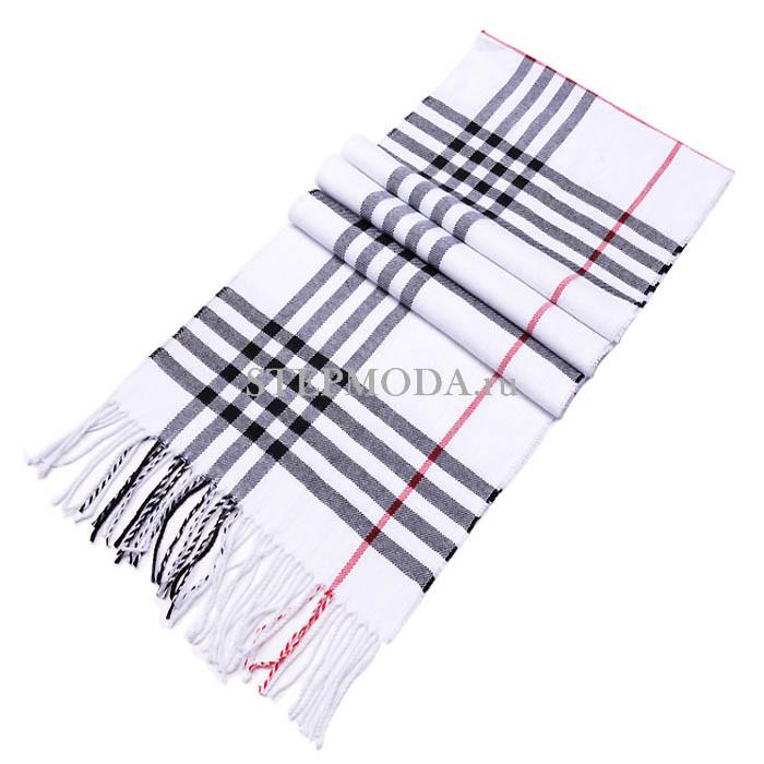 ca2cb1de8c6b Бело-черный мужской шарф из шерсти
