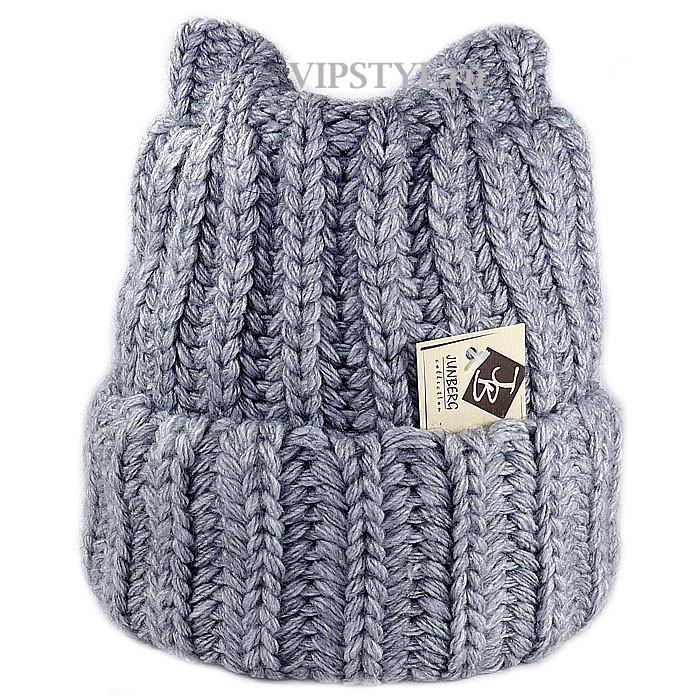 Купить шапку крупной вязки серую женскую недорого в интернет ... fbdd5d81e9b12
